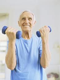 eldery lifting weights